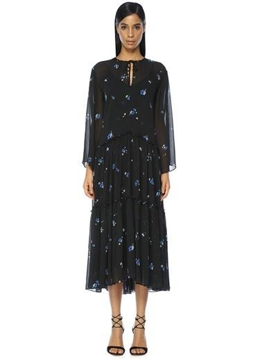 Kolları Şifon Detaylı Pileli Midi Elbise-Academia